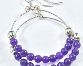 Purple hoop earrings, Purple statement earrings, Purple earrings, Purple bohemian earrings, Cute purple earrings, Purple beaded earrings