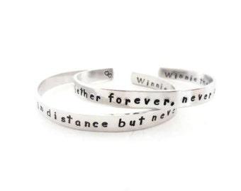 Personalized Winnie the Pooh Inspired Bracelet Set, Together forever, never apart, Friendship Bracelets, A Pair of Bracelets