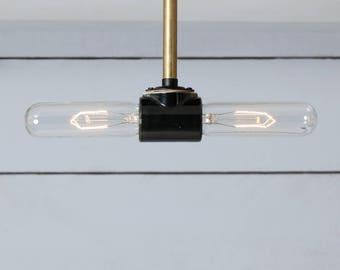 Double Bare Bulb Brass Ceiling Light - Semi Flush Mount