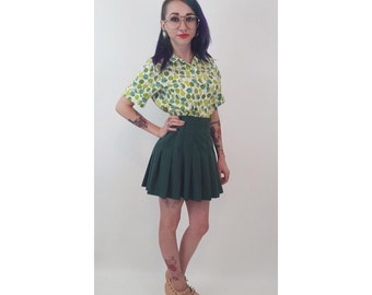 90's Forest Green Pleated Tennis Skirt XS Small - Basic Vintage 1990s Schoolgirl Mini Skirt - Preppy Style Basic Everyday Cute Miniskirt