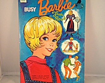 Busy BARBIE Fun Book Coloring and Activity Book VINTAGE 1970's