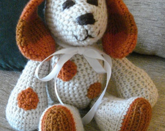 "Crocheted  puppy dog stuffed animal doll toy ""Chase"""