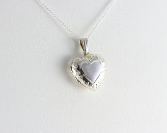 Sterling Silver Necklace Heart Locket 18 inch Chain