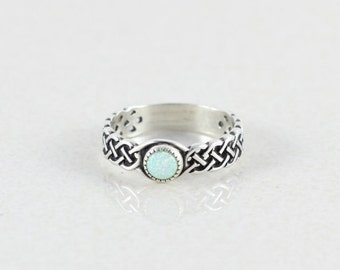 Sterling Silver Opal Ring Opal Band Size 8 Celtic Knot Design Promise Ring