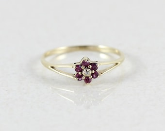 Ruby 10K Yellow Gold Natural Ruby and Diamond Flower Ring Size 6 1/4