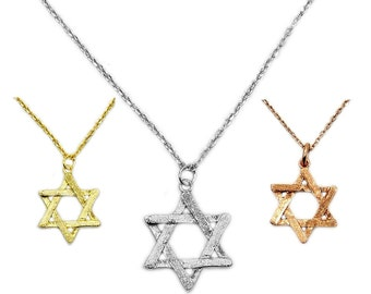 Reversible Sterling Silver Jewish Star Of David Pendant Necklace Judaism Hebrew Kabbalah Jewelry Rose Gold Vermeil AE925 AE924 AE923