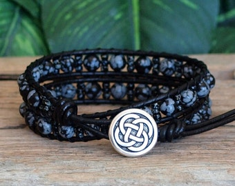Black Beaded Leather Wrap Bracelet, Snowflake Obsidian Miyuki Seed Bead Bracelet, Beaded Leather Double Wrap, Black Grey Stone Bracelet