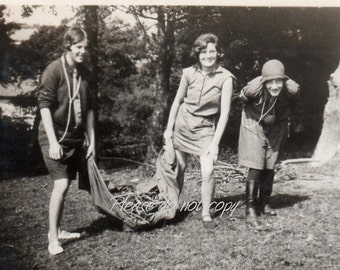 "fun ""flapper"" campfire girls ~ Vintage Snapshot Photo ~ camping"