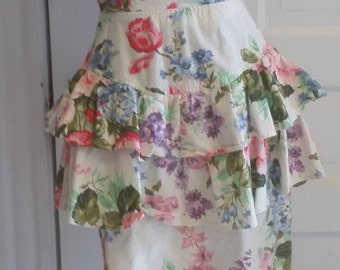 1990's Floral Summer Peplum Dress With Open Back