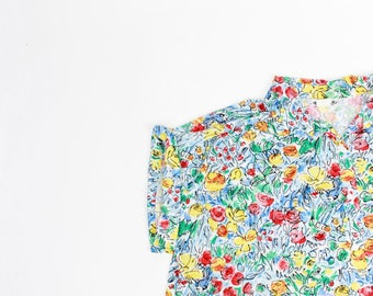 floral illustration blouse poppies print pattern collared button down shirt L OS