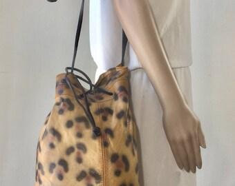 Painted Leather Purse, Bag, Leopard Print, Shoulder Bag, Cinch Bucket Bag, Brown, Black, Tan