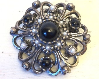Vintage Ornate Faux Pearl And Black Stone Scottish Miracle Brooch