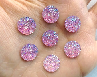 Small Pink AB Round Druzy Resin Flatback Cabochon - 12mm - Decoden - DIY - Scrapbooking