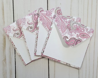 Paisley Mini Envelopes, Pink Paisley Cards, Gift Enclosure Cards, Blank Cards, Favor Cards, Small Stationery, Advice Cards, Set of 4
