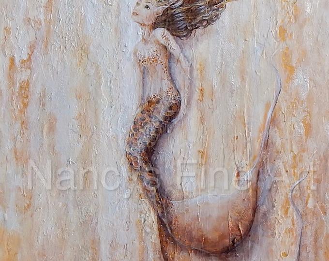 Beautiful mermaid wall art print, neutral mermaid painting, beach house decor, original painting by Nancy Quiaoit.