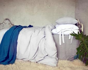 Light Grey Stonewashed Luxurious Linen Duvet Cover Quilt