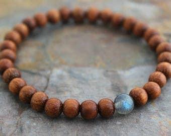 Mens Bracelet Labradorite Bayong Wood Bracelet Mens Gift Brother Gift Womens Bracelet Womens Gift for Her Gift for Him