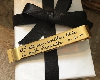 Of All Our Walks This One Is My Favorite Tie Bar, Father Of The Bride Tie Bar Gift,Wedding Gift From Bride To Dad, Wedding Accessories