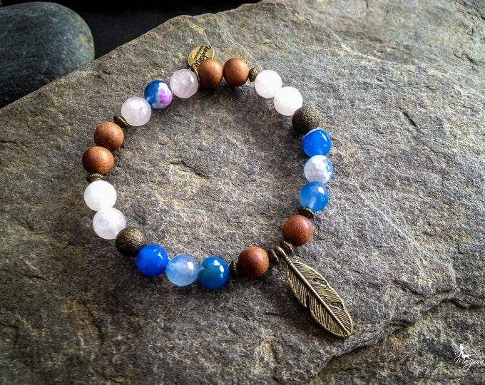 Quartz bracelet Yoga Intention boho feather chakra lithotherapy Mala jewelry handmade by Creations Mariposa