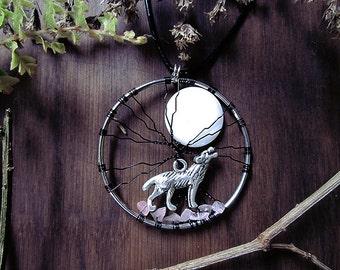 Moon Howl Pendant, Wolf Tree of Life, Wolf Moon, Abalone Shell, Rose Quartz Crystal