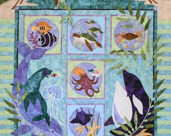Java House Quilts Symphony In Sea Dolphin Whale Sea Animals 7-Pattern BOM Applique Quilt Pattern Set