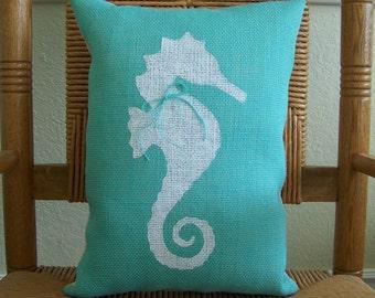 Seahorse pillow, Beach pillow, Nautical pillow, Burlap pillow, Seahorse stenciled pillow, Sea life pillow, FREE SHIPPING!