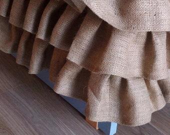 Ruffled Burlap Bedskirt - Ruffled Bed Skirt - Rustic Bedskirt - Bedding - Bedskirt - Burlap Valance - Queen Size - Choose Drop