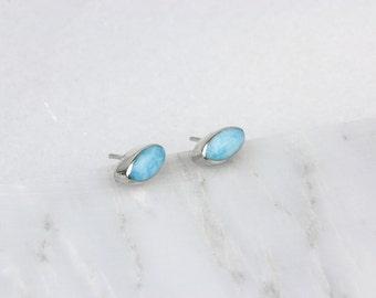 Blue Larimar Studs/ Larimar Earrings/ Silver Larimar Studs/ Blue Larimar Jewelry/ Larimar and Silver