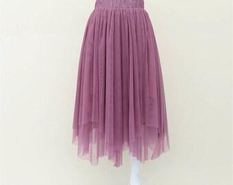 Summer women skirt  Soft tulle skirt Irregular tulle skirt dress, adult party meeting tea length tulle tutu/Soft tulle skirt