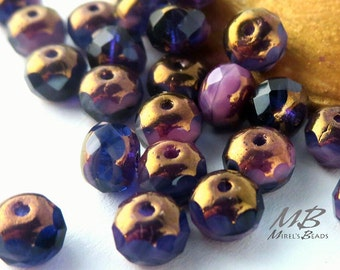 7x5mm Purple and Pink Mix Bronze Finish Rondelles, Tanzanite Faceted Rondelle, 18 pcs Czech Glass, Puffy Donut Beads