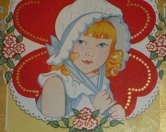 Cute Girl Wearing a Bonnet - Valentine, Be Mine Vintage Postcard