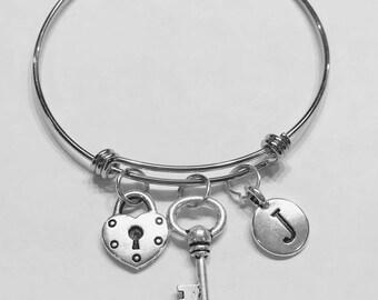 Gift For Her, Initial Bangle Bracelet, Lock And Key Bangle Bracelet, Valentine Gift, Mother's Day Wife Daughter Love Bangle Bracelet