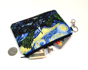 Starry Night Coin Purse, iPhone 7 Case, Wallet, Clutch, Zipper Pouch, Wristlet, Padded iPhone 6 Case, Small Purse, Key Chain Wallet