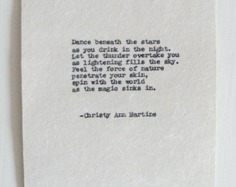 Typed Poem for Her - Gifts Under 20 - Ready to Ship - Dance Beneath the Stars - Magic - Universe -Typed by Poet