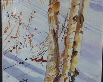 Birch Trees in Winter Watercolor Print