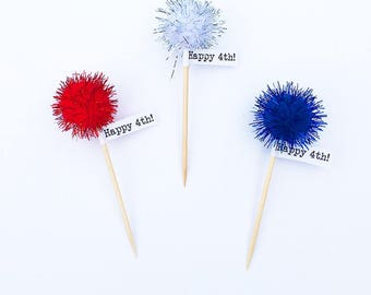 4th of July Toothpicks or Cupcake Toppers (12)
