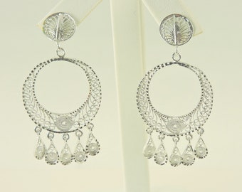 Sterling Silver Filigree Dangle Hoop Earrings