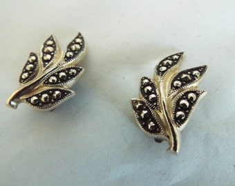 VINTAGE 1940's  Clip On Earrings in Leaf Design Silver tone base with Marcasite setting