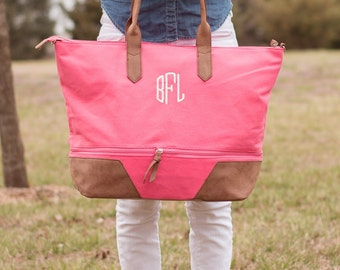 Monogrammed Canvas Tote Bag | Preppy Carry on Bag | Personalized Overnight Bags | Canvas Carry On | Expandable Tote Bag | Gift for Her