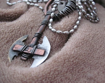Labrys Necklace, Axe Necklace, Pendant Axe, Pendant Labrys, Jewelry Pendant Labrys, Jewelry pendant Axe, Labrys - Double Axe, Labrys Brass