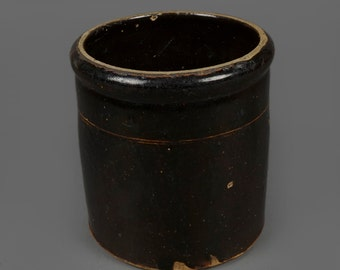 Vintage Stoneware Crock 0.5 Gallon Jar Pot Pottery Small Medium Size Crock Container Dark Brown Color