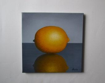 Original 10x10' acrylic lemon painting, small still life painting, yellow fruit artwork, kitchen painting, food painting, lemons reflection