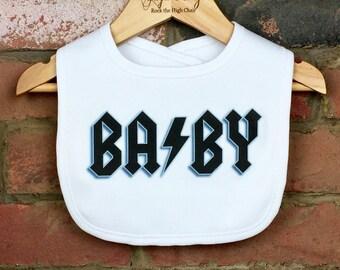Rock BABY Bib, Rocker Baby, Funny Baby Clothes, Unique Baby Gift, Rock Star Baby, Hip Baby Clothes, Rock N Roll Baby, ACDC Rock Baby Clothes