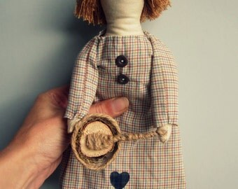 Handmade doll, cloth doll soft doll fabric art doll rag doll, doll gift, Gift for baker, hand sewn ooak vintage embroidered country crafts