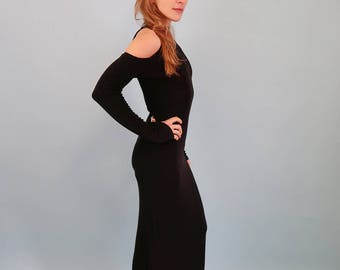80s Black Maxi Dress with Shoulder Cut Outs and Mock Neck
