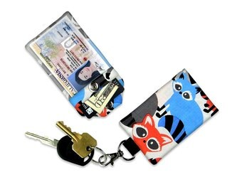 Red Grey and Blue Racoons Mini Wallet Card Holder Keychain Clear ID Holder Small Wallet Student ID Badge Credit Card Animal Print Wallet kid