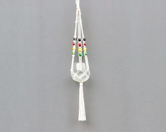 Rasta macrame plant hanger,  macrame hanging pot hanger, rastafarian macrame hanger, hippie decor, boho, modern macrame, bohemian