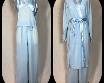 Collections, Etc. Pajama Set in Sheer Chiffon and Satin, Camisole, Pull on Bottoms and Wrap Robe - Size Large