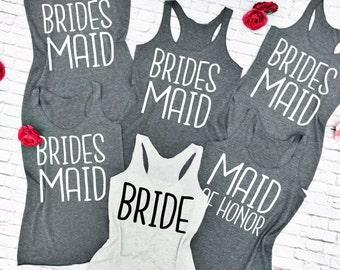 10 Bridesmaid Tank Tops. 10 Bridal Party Shirts. 10 Bridesmaid Tanks. 10 Bachelorette Party Shirts. 10 Wedding Tank Tops 10 Bridal Entourage