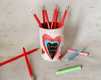 Paper Pencil Holder, Papier Mache Pot, Heart Pen Holder, Office Accessory, Office Desk Storage, Office Decor, Heart Pencil Pot, Pencil Stand